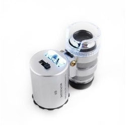 Mikroskop 60x med belysning - Ministorlek Silver