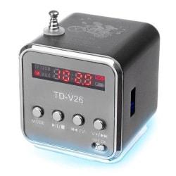 Mini Radio med högtalare och LED belysning. grå