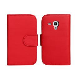 Plånbok Galaxy S3 mini, PU-läder Röd