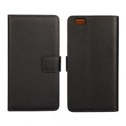 Plånbokfodral Huawei P8 Lite, Äkta skinn, Svart Svart one size