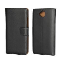 Plånbokfodral Huawei Y6 Pro,  Äkta skinn, Svart Svart