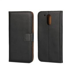 Plånbokfodral Motorola Moto G4/G4 Plus, Äkta skinn, Svart Svart
