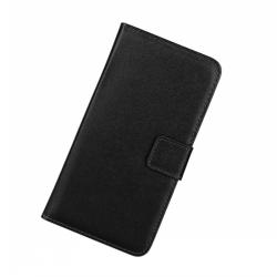 Plånbokfodral Motorola Moto G6, Äkta skinn, Svart Svart
