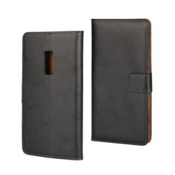 Plånbokfodral OnePlus 2, Äkta läder, Svart Svart