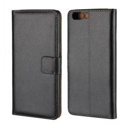 Plånbokfodral OnePlus 5, Äkta läder, Svart Svart