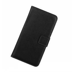 Plånboksfodral Samsung A40, Äkta skinn Svart