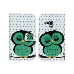 Plånboksfodral Galaxy S3 mini, PU-läder, Slim modell, Uggla MultiColor Grön Uggla