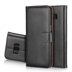Plånboksfodral Samsung S8 Plus, äkta skinn Svart