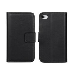 Plånboksfodral iPhone 4/4s äkta skinn Svart