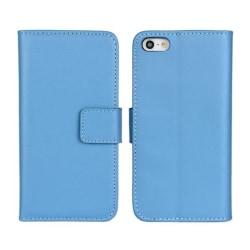 Plånboksfodral iPhone 5/5s/SE äkta skinn Ljusblå