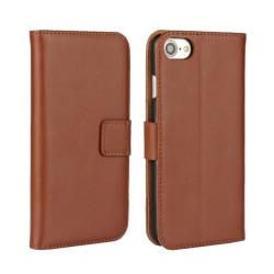 Plånboksfodral iPhone 7 / 8 / SE (2020), äkta skinn Brun