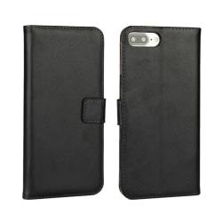 Plånboksfodral iPhone 7 Plus/8 Plus, äkta skinn Svart