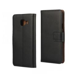 Plånboksfodral Samsung A3 2016, Äkta skinn Svart
