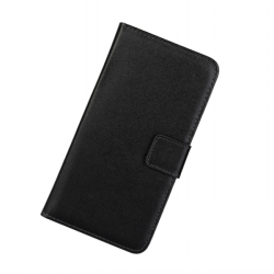 Plånboksfodral Samsung A6 Plus - 2018, Äkta skinn Svart