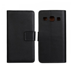 Plånboksfodral Samsung Core Plus, Äkta skinn Svart
