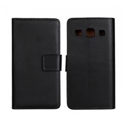 Plånboksfodral Samsung Core Prime, Äkta skinn, Svart Svart