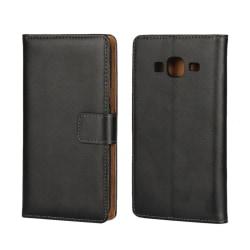 Plånboksfodral Samsung J3 - 2016, Äkta skinn, Svart Svart
