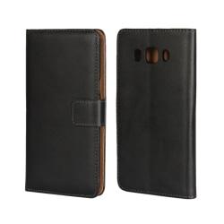 Plånboksfodral Samsung J5 2016, Äkta skinn, Svart Svart