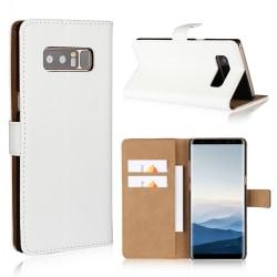 Plånboksfodral Samsung Note 8, Äkta skinn Vit