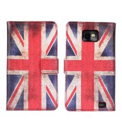 Plånboksfodral Samsung S2, PU-läder, USA eller UK flagga multifärg