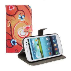 Plånboksfodral Samsung S3, Slim modell, Blommor Orange