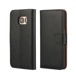 Plånboksfodral Samsung S7 äkta skinn Svart