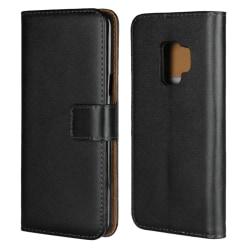 Plånboksfodral Samsung S9 Plus, äkta skinn Svart