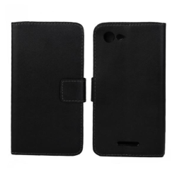 Plånboksfodral Sony Xperia E3, Äkta skinn, Svart Svart