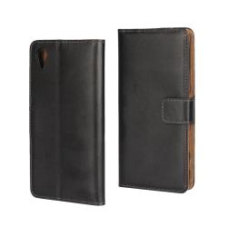Plånboksfodral Sony Xperia X, Äkta skinn, Svart Svart