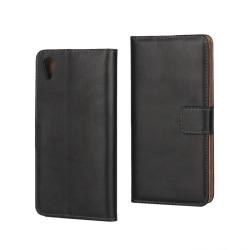 Plånboksfodral Sony Xperia XA, Äkta skinn, Svart Svart
