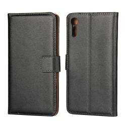 Plånboksfodral Sony Xperia XZ / XZs, Äkta skinn, Svart Svart