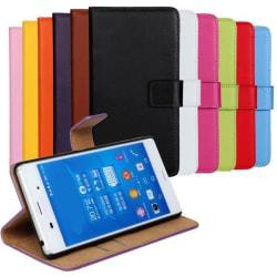 Plånboksfodral Sony Xperia Z3, Äkta skinn Svart