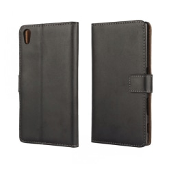 Plånboksfodral Sony Xperia Z5, Äkta skinn, Svart Svart