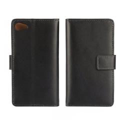 Plånboksfodral Sony Z5 compact, Äkta skinn, Svart Svart