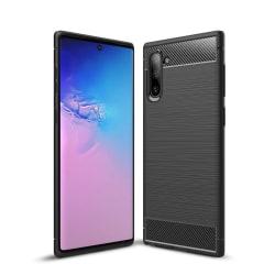 Samsung Note 10 - Skal Gummi i kolfiberdesign - Svart Svart