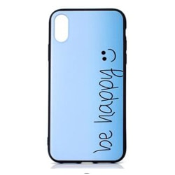Skal i gummi, iPhone Xs Max, Be Happy Blå