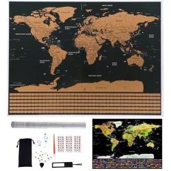 Skrapkarta Världskarta 82x59cm - med 57 tillbehör Guld