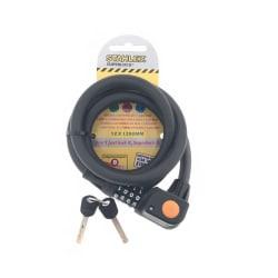 Stahlex cykellås - Kod + Nyckel - 12mm x 1.2 m - Vajerlås  Svart