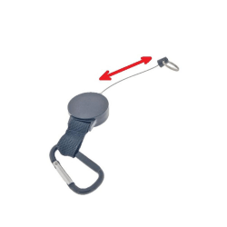 Utdragbar nyckelring med jojo-funktion och vajer 70 cm Svart one size