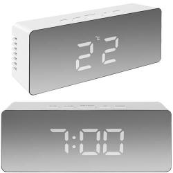 Väckarklocka Digital - Spegelglas med termometer Vit