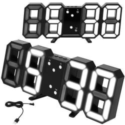 Väggklocka / Bordsklocka - digital - klassiska siffror Svart