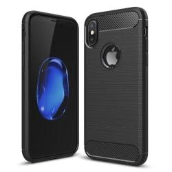 iPhone Xs - Skal Gummi i kolfiberdesign - Svart