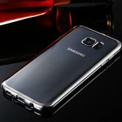 Genomskinlig Silikon Skal för Galaxy S7 Edge Metallic Silver