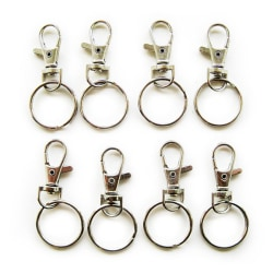 16 st nyckelringar med karbinhake 15x36 mm