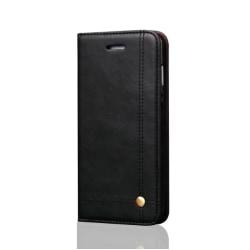 Crazy Horse Flip Case- iPhone X Svart