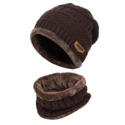 Hat & Scarf Set  Mörkbrun