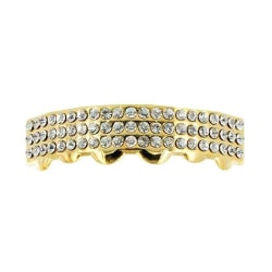 Grillz,  Gold 3row diamonds BOTTOM Guld