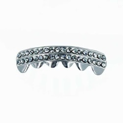 Grillz,  Silver Double Deck Clear BOTTOM Silver