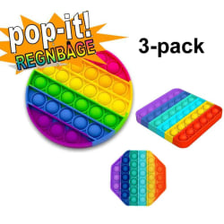3-pack Pop It Fidget Toy Original - Regnbåge - CE Godkända multifärg one size