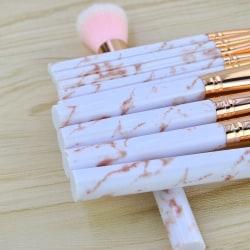 10 st. Rosa Marmor Sminkborstar av Fin Kvalité